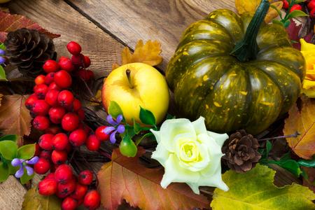 秋のカラフルな秋の葉、カボチャ、リンゴ、ライラック色の花、熟したナナカマドの果実と素朴な背景、クローズ アップ 写真素材
