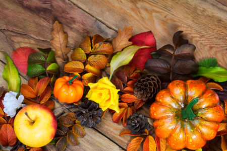 Thanksgiving orange pumpkins, apple, pine cones and colorfull fall leaves wreath on the wooden background, top view