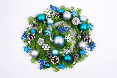 christmas wreath with silver beads pale blue and turquoise ornaments felt snowflakes and pine - Blue Christmas Wreath