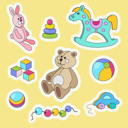 Kids toys cartoon style colorful vector sticker set. Ilustrace