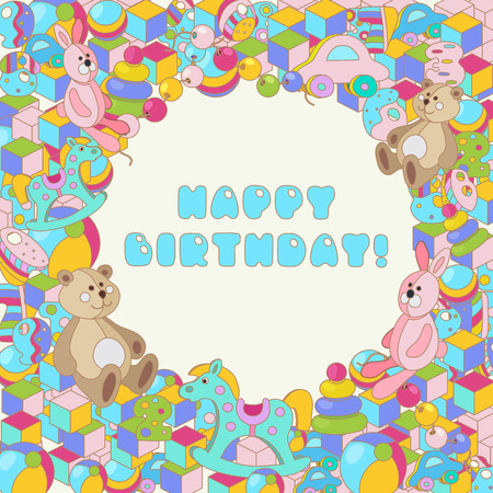 Happy Birthday typographic vector colorful cartoon doodles with baby toy design