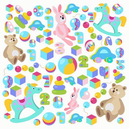 Colorful cartoon style teddy bear, rocking horse, pink rabbit toys vector set