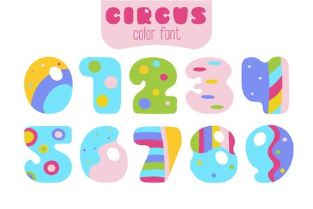 Funny cartoon style colorful vector numbers 0, 1, 2, 3, 4, 5, 6, 7, 8, 9 set