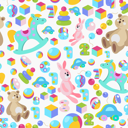 Kids toys cartoon style colorful vector seamless pattern.