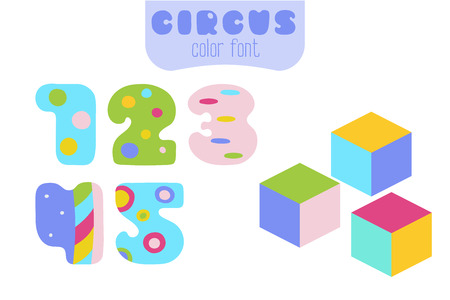 Funny cartoon style colorful vector numbers 1, 2, 3, 4, 5 set with toy blocks