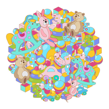 Colorful cartoon doodles baby toy vector illustration. Round picture with lots of teddy bear, rocking horse, rabbit, toy blocks, balls and letters. All objects separate.