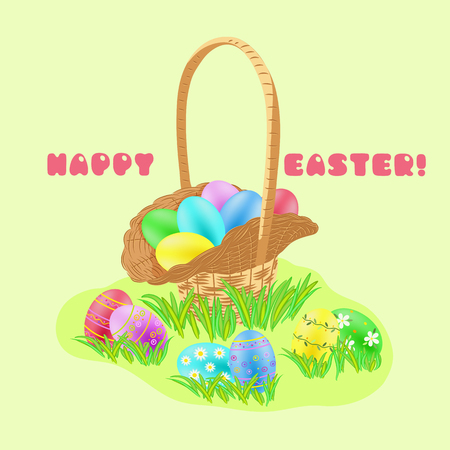Easter hunt concept with painted eggs in the wicker basket in green grass