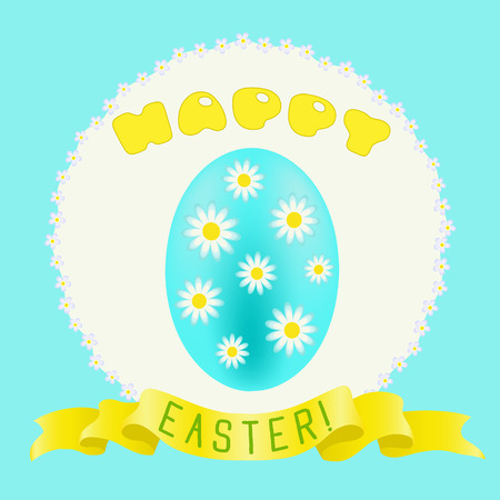 Happy Easter greeting with turquoise painted egg and golden ribbon