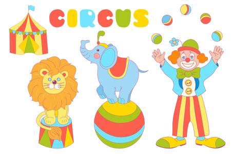 Conjunto de vectores de personajes de circo. Malabarista de payaso, elefante en la bola, león y carpa de circo aislado en el fondo blanco.