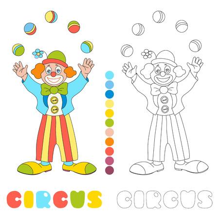 Circo vector carácter payaso malabarista niños página de libro para colorear
