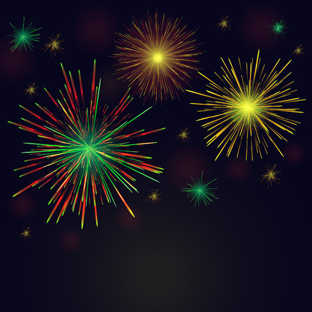 Celebration multicolored sparkling vector golden, green, red fireworks set over night sky. 4th of July Independence Day, New Year holidays background.