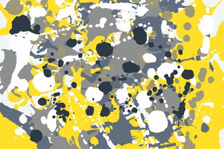 Graue, gelbe, blaue, weiße Tintenfarbe spritzt bunten Hintergrund des Tarnungsvektors