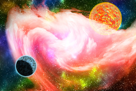 Colorful galaxy background with planets, stars and glowing pink nebula