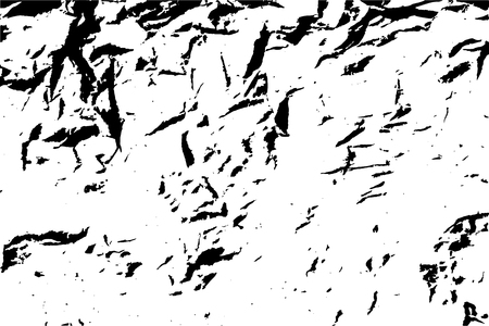 Dust and grain grunge crumpled paper background. Black and white vector texture template for overlay artwork.