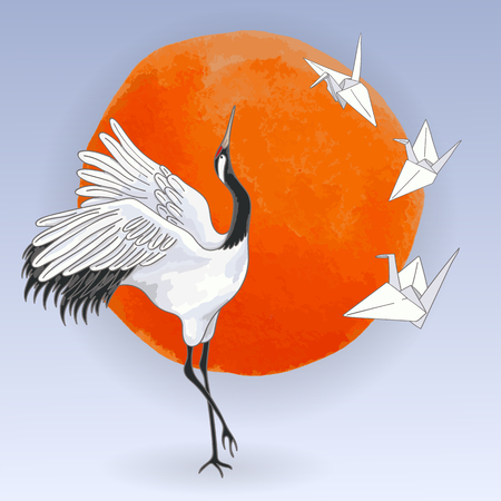 The red-crowned Japanese dancing crane and white paper origami birds over sunset 스톡 콘텐츠