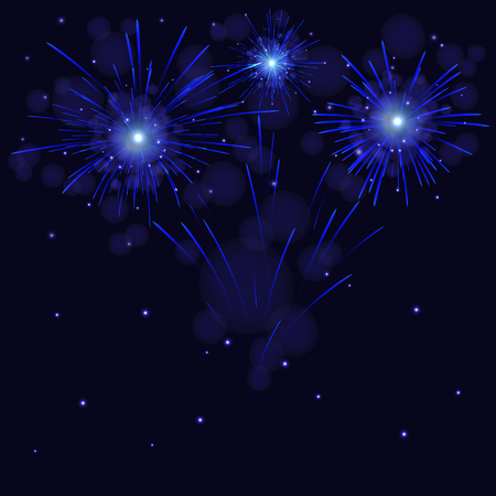 Celebration sparkling blue fireworks over starry night sky. Independence Day 4th of July, New year holidays background.