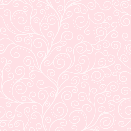 Pale pink vector background with white liana seamless pattern