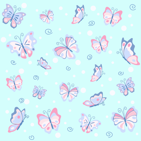 Pink butterfly in the blue sky seamless pattern