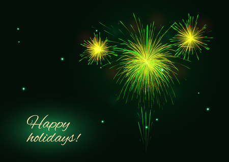 Yellow golden green vector fireworks burst greeting holidays background, copy space.