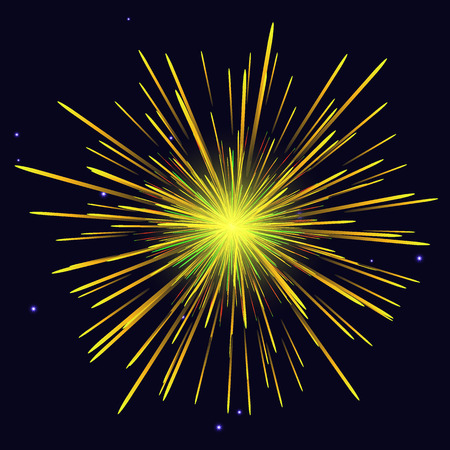 Celebration vibrant radiant vector golden yellow fireworks over night sky. 4th of July Independence Day, New Year holidays background. Illustration
