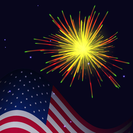United States flag and celebration radiant yellow red green fireworks vector background. Independence Day, 4th of July holidays salute greeting card. Illustration