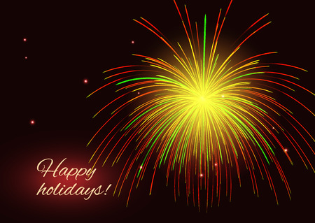 Sparkling vibrant red yellow golden green vector fireworks greeting holidays background, copy space. Çizim