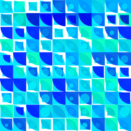 Blue and green shades vector abstract mosaic background with rounded corners square tiles over white