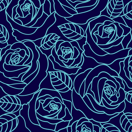 Pale blue vector outline roses on the navy blue background pattern