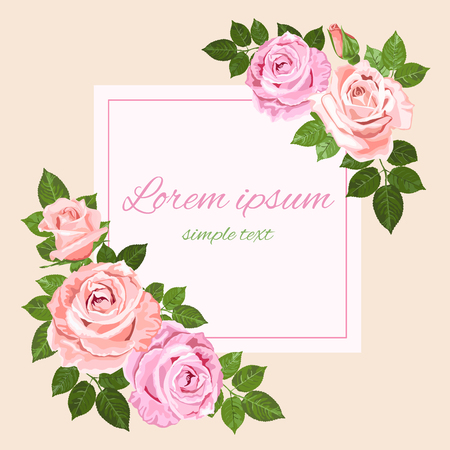 Vector pink and beige roses and green leaves on the ivory background square greeting card