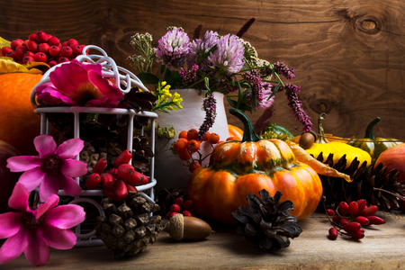 Thanksgiving arrangement with turban squash, rowan berries, clower, white birdcage, pine cones, pink and purple flowers Stock Photo