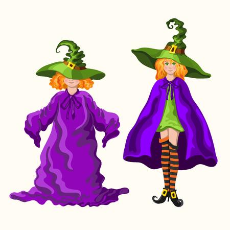 Zwei junge Hexen im rothaarigen Cartoon-Stil in den magischen Hüten isoliert auf dem weißen Hintergrund