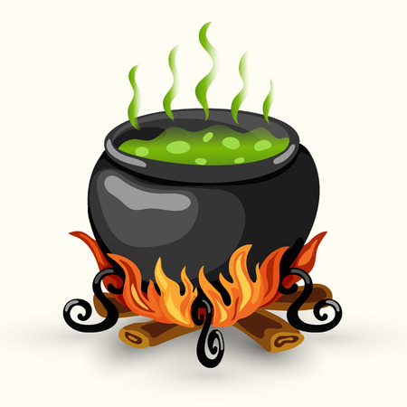 Cartoon vector witch cauldron with boiling potion of poison and bonfire isolated on the white background
