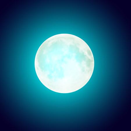 Vector full moon over dark blue night sky background. Halloween holiday card