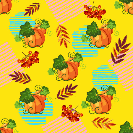 Seamless pattern witn orange ripe pumpkin, paint stripe, red fall leaves  and berry on the yellow background