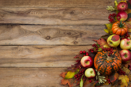 Rustic fall greeting card background with pumpkin, red leaves, apples, viburnum berries, copy space