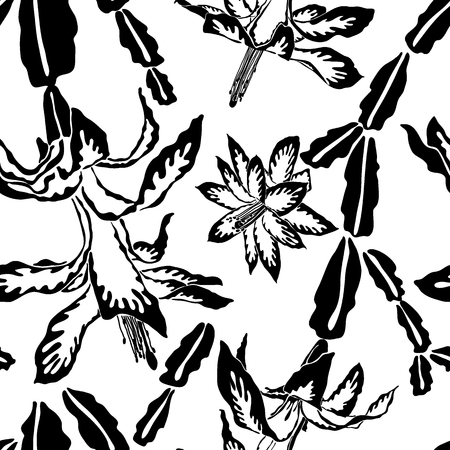 Jumbo large scale blooming Christmas cactus black and white seamless pattern