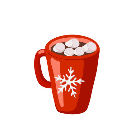 Cocoa or hot chocolate with marshmallows in red mug with snowflake icon isolated on the white background 免版税图像