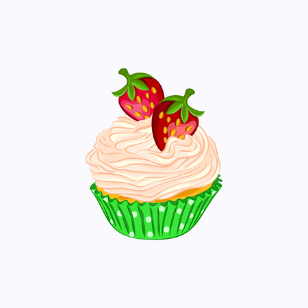 Cartoon style cupcake with whipped cream and strawberry in the green paper holder icon isolated on the white background