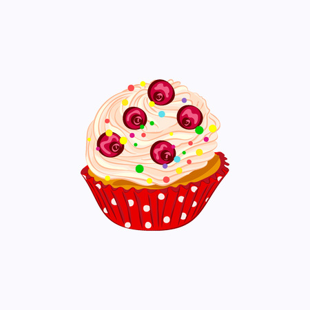 Cartoon style cupcake with whipped cream and berry in the red paper holder icon isolated on the white background Imagens
