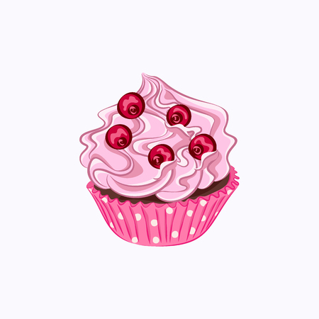 Cartoon style cupcake with pink whipped cream and red berry in the paper holder icon isolated on the white background Imagens