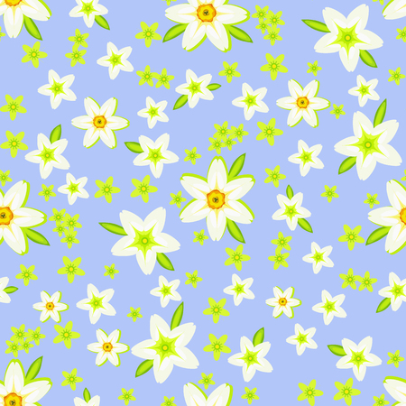 Spring seamless pattern with daffodils and green flowers on the blue background for wrapper, bed linen, curtains, pillows, other home textile and women's clothing Stockfoto