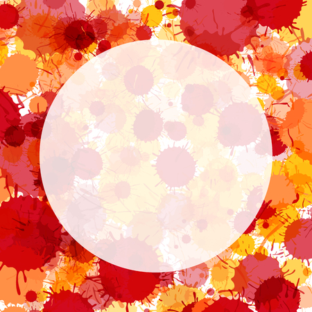 Vibrant red and orange artistic watercolor paint drops background. Greeting card or invitation template with semi-transparent round frame for text, square