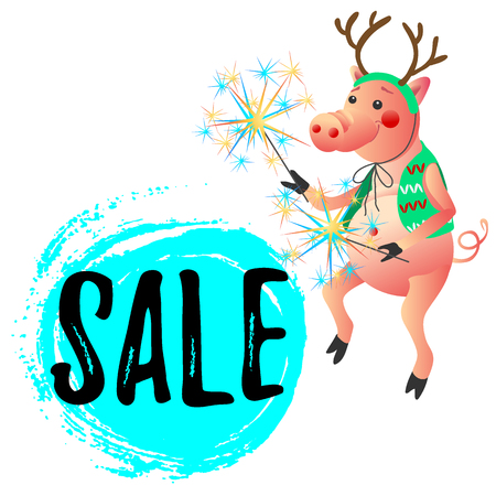 New Year symbol  funny dancing pig with sparklers sale offer banner