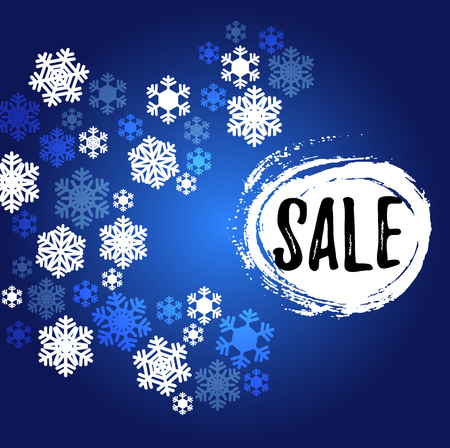 Christmas navy blue and white snowflakes sale discount offer banner