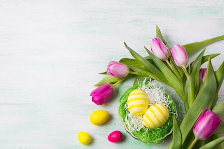 Easter background with yellow striped painted eggs in the green nest and pink tulips. Happy Easter greeting card, copy space. Imagens