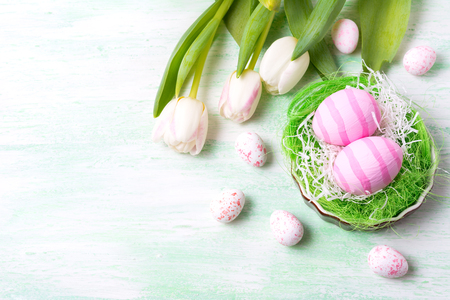 Easter background with pink striped painted eggs in the nest and white tulips. Happy Easter greeting card, copy space.
