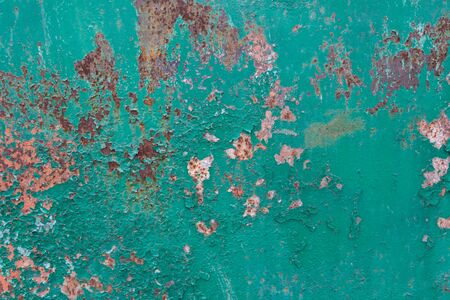 Old painted metal background with rust. Grunge texture template for overlay artwork. Stok Fotoğraf