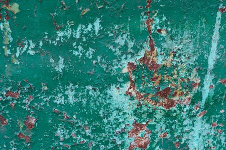 Cracked green and blue paint rusted metal background. Grunge texture template Stok Fotoğraf
