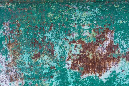 Old cracked green paint and rusted metal background. Grunge texture template for overlay artwork. Stok Fotoğraf