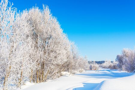 Scenic winter road landscape with blue sky and white frozen trees 版權商用圖片 - 129995491